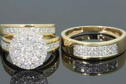 Wholesale Man Yellow Diamond Ring - 10K YELLOW GOLD 2 MEN WOMEN DIAMOND TRIO ENGAGEMENT WEDDING RING BAND SET