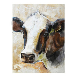 Wholesale Life Size Cows - Cow,Pure Hand Painted Modern Wall Decor Cartoon Animal Art Oil Painting On High Quality Canvas.Multi sizes C064