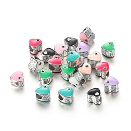 Wholesale painted beads round - 2018 Drop Paint Double Heart Charm Bracelets & Bangles With Pink Enamel Charms Heart Love Bead for Gift DY67