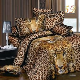 Wholesale Leopard Print Duvets - Home Textile High Quality 3D Bedding Duvet Cover Sets Printing America Leopard 4pcs Set Bedding