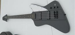 Wholesale Dot Guitar - Short Scale 4 Strings Fire V Thunderbird Matte Black Electric Bass Guitar EMG Pickups Black Hardware Dot MOP Fingerboard Inlay