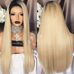 Wholesale Glueless Wigs Blonde - Top Quality Silky Straight Synthetic Lace Front Wig Ombre Blonde Hair Glueless Wig Heat Resistant Synthetic Lace Front Wig For Black Women