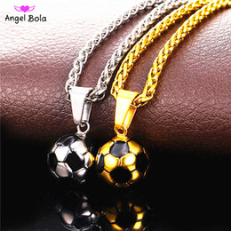 Wholesale Fitness Necklaces - Soccer Necklaces Men Jewelry Gold Color Stainless Steel Fitness Football Sport Pendant & Chain Fathers Day Gifts For Dad
