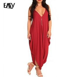 Wholesale Wholesale Rompers For Women - Wholesale- Red Jumpsuit for Women Rompers Womens Jumpsuit Long Pants Plus Size XL One Piece Solid Black Sleeveless V-neck Sexy Rompers 20
