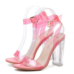 Wholesale Simple Style Sandals - Size 34-39 Newest Women Pumps Celebrity Wearing Simple Style PVC Clear Transparent Strappy Buckle Sandals High Heels Shoes Woman