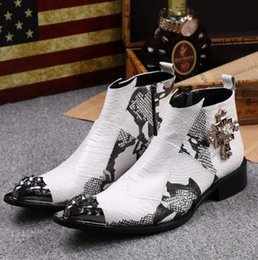 Wholesale Thanksgiving Plus Size Tops - White Pointed Toe Mens Genuine Leather Ankle Boots Winter High Top Casual Sheos Cowboy Boots Military Men Boots Plus Size 37 46