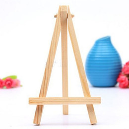 Wholesale Wooden Easels - Wholesale- draw toy Mini Artist Wooden Easel Wood Wedding Table Card Stand Display Holder For Party Decoration 8*15cm 5pcs