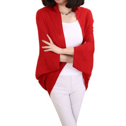 Wholesale Ladies Sweater Shawls - Wholesale-Women Cardigan New Arrival 2016 Autumn Winter Fashion Cardigan Mohair Long Ladies Big Size Sweater Bat Sleeve Loose Knit Shawl H