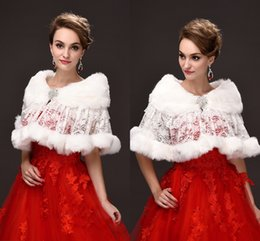 Wholesale Warm Bridal Bolero - Fall Winter Bridal Wraps Jackets with Lace Faux Fur Warm Wraps Bridal Bolero for Wedding Dresses Cheap Under 20 CPA976