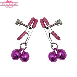Wholesale Discounted Adult Toys - New Discount Nipple clitoris Clamps Clips Jewellery Bust Massager Stimulate Sex Toy Flirt Adult Products 1 pair lot Metal 2 blue purple