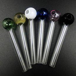 Gafas rosa baratas online-Nuevo Colorido Pyrex Glass Oil Burner Pipe Pink Glass Burner Oil Tube Glass Pies baratos para fumar