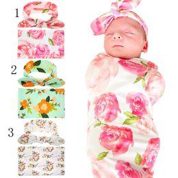 Wholesale Floral Sheet Sets - Kids cotton Donuts Floral Blankets+Rabbit ears headband 2pcs set infant Flower printing Swaddling baby bed sheet Sleeping Bag 90*90cm C2468