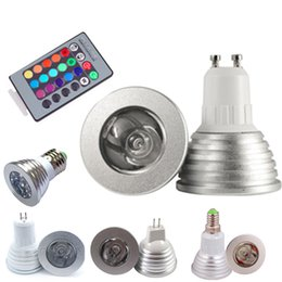Wholesale 12v Color Changing Led Bulb - 3W RGB LED Bulb Lights 16 Color Changing AC85-265V E27 GU10 E14 GU5.3 DC AC12V MR16 with 24 Key IR Remote Control