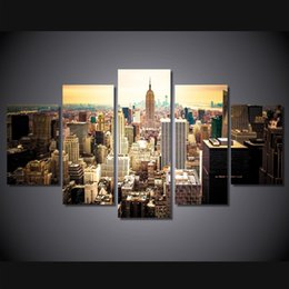 Wholesale Oil Painting Framed Abstract Building - 5 Pcs Set Framed HD Printed New York Empire State Building Picture Wall Art Canvas Print Room Decor Poster Canvas Pictures Painting