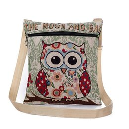 Wholesale Owl Bags Crochet - Women cartoon shoulder bags owl embroidery crossbody messenger bags national style lovely handbags wholesale