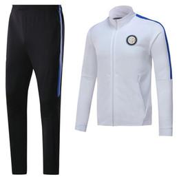 Wholesale Tracksuit Grey - AAA top quality 17 18 Inter soccer jacket set training suit 2018 Milan ICARDI GAGLIARDINI J.MARIO B.VALERO PERISIC football tracksuits