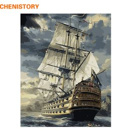 Wholesale Paint Number Kit Oils - CHENISTORY Sailing Boat DIY Painting By Numbers Drawing Painting By Numbers Kits Paint On Canvas For Home Wall Art Picture 40x50