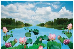 Wholesale Vintage Household Decoration - 3D photo wallpaper custom size 3d wall murals Lotus blue sky and white clouds decoration mural wall 3D Mural wallpaper Free shipping