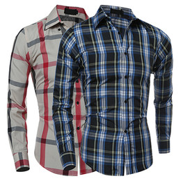 Wholesale Fall Flannels - Wholesale- 2016 New Product Man's Fashion Fall Winter Casual Plaid Shirt Long Sleeve Slim Fit Flannel Clothes Shirts