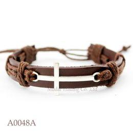 Wholesale Sideways Charms For Bracelets - (10PCS lot) Sideways Cross Adjustable Leather Cuff Bracelet for Men & Women Friendship Bangle Punk Casual Wristband Jewelry