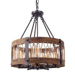 Wholesale Wood Light Fixture Ceiling - Round Wooden Chandelier with Clear Glass Shade, Edison Wood Island Pendant Lighting Fixtures, Black Color Iron Ceiling Lamp