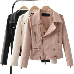 Wholesale Ladies Leather Jackets Sale - 2017 New Women's Autumn Winter Fashion Leather Jackets Lady Long sleeve Slim Pink White Motorcycle Pu Coats Outerwear Hot Sale