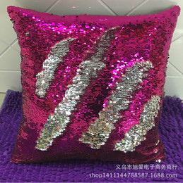 Wholesale White Sofa Black Cushions - Double Sequin Sequins Pillow Case cover Glamour Square Pillow Case Cushion Cover Home Sofa Car Decor Mermaid Pillow Covers