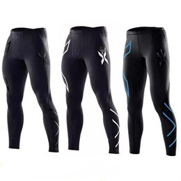 Wholesale Denim High Waist Pants - 2xu 2017 Men Compression Pants Casual Tights Camouflage Pants Bodybuilding Mans High Elasticity Joggers Crossfit Skinny Leggings DHL free ma