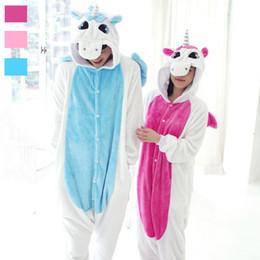 Wholesale Unicorn Adult Onesie - Adult Fleece Animal Sleepsuit Pajamas Costume Cosplay Unicorn Onesie Pink Blue Pyjamas Jumpsuits Rompers Animal Pyjamas Unicorn