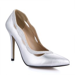 Wholesale Cheap Silver Pumps - Silver PU Women Pumps Poined Toe 2017 High Heels Party Shoes Pointed Toes Real Image Shoes Cheap Modest Fashion Summer Sandals Shoes
