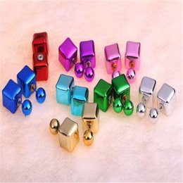 Wholesale Candy Silver Balls - Pearl Ball Earrings Square Geometry Earring Stud DHL Pair Double Side Candy Color Desiger Jewelry Women Xmas Gift