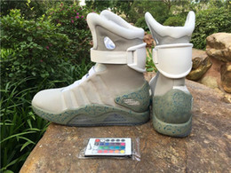 Wholesale Glow Dark Sneakers - Air mag Back to the Future McFly LED Mens Mag Sneakers glow in the dark Mens mcfly lighting Luxury Grey Boots MAGS size 7-13