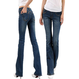 Wholesale High Waist Boot Cut Jeans - Wholesale- 2017 ,2017 New boyfriend jeans for women Boot Cut Fashion Cool Slim high waist pantalon Jeans femme Trousers A640