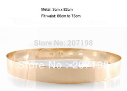 Wholesale Leather Gold Plate Belts Wholesale - Wholesale- (10 pieces lot) fashion women gold full metal plate metallic mirror belt designer style fit waist 25'' to 29.5''