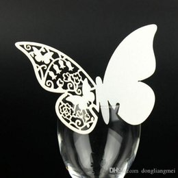 Wholesale Place Earth - 120pcs hallow Laser Cut Butterfly wedding Place Card hold on Wine Glass Card for Wedding Party Decoration #z110 marti