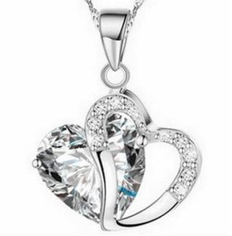Wholesale Wholesale State Shaped Necklaces - Europe and the United States selling 925 silver jewelry wholesale women chain clavicle chain peach heart-shaped crystal necklace