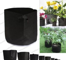 Wholesale Fabric Basket Weaving - Round Non-woven Fabric Pots Plant Pouch Root Container Grow Bag Aeration Flower Pots Container Garden Planters free shipping MYY