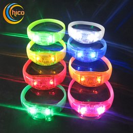 Wholesale Night Activate Led Light - Sound Control Music Activated Led Flashing Bracelet Light speaker light black lights for party bar Cheer Luminous Night Light