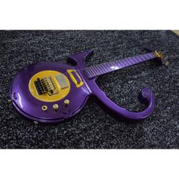 Wholesale Guitars Floyd - Rare Shaped Guitar Metallic Purple Prince Love Symbol Electric Guitar Floyd Rose Tremolo Bridge Gold Hardware Seymour Duncan Pickups