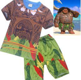 Wholesale Baby Cartoon Letters - Boys Moana Cartoon suits Sets New kids summer moana short sleeve T-shirt + shorts 2 pieces set suit Baby clothing pajamas A 080