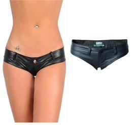 Wholesale Leather Sexy Zipper - Hot Sexy PU High Cut Mini Shorts Faux Leather Booty Shorts Micro Mini Cheeky Bikini Hot Short Pants Bottom Short Jean