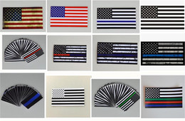 Wholesale Blue Line Cars - 300pcs 12 designs 6.5*11.5 CM American USA Flag Car Sticker Thin Blue Line USA Flag Black White And Blue Flag US banner flags G145