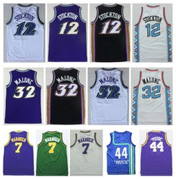 Wholesale Snow White Top - Top #7 Pete Maravich Jersey Purple Snow Throwback 12 John Stockton White 32 Karl Malone Black Blue 44 Pistol Pete Maravich Basketball Jersey