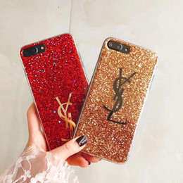 Wholesale Flash Apple - Luxury brand flash powder silicone protective shell case for Apple iphone 6 6S 7 7plus TPU soft shell back cover for iphone 8 8plus