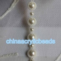 Wholesale Roll Pearl String - Wholesale 10Yard Roll Plastic Pearl Beads String Garland Ribbon Bridal DIY Wedding Christmas Home Party Favour Trim