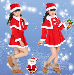 Wholesale Velvet Dress Boys - Christmas costume dress up boy and girl performance costumes Halloween Santa Clothes wholesale DHL free shipping