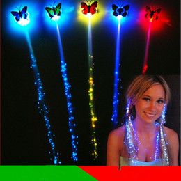 Wholesale Concert Girls Flashing - LED flash butterfly braid party concert led Hair Accessories Halloween Christmas accessories LED Toys C001