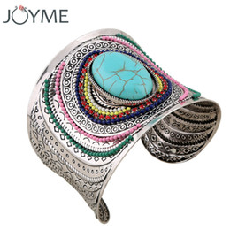 Wholesale Cuff Bracelet Gems - Joyme New Ethnic Jewelry Big Open Wide Arm Cuff Bangle Bracelets For Women Boho Bohemia Turquoise Gem Statement Bangles Armband