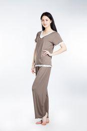 Wholesale Top Traditional Women - 100% Lenzing Modal Women Pajama Sets Gray Lady Pajamas Nightgowns Robe Women's Nightgown Cotton Nightwear Long Sleeve Sleepwear