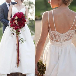 Wholesale Taffeta Floor Length Skirts - Taffeta Boho Country Wedding Dresses 2017 Lace Applique V Neck Straps Outdoor Bridal Gowns With Low Back Floor Length Cheap Plus Size